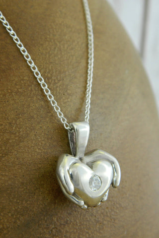 Medium Modern Heart Charm Necklace with Crystal Gemstone