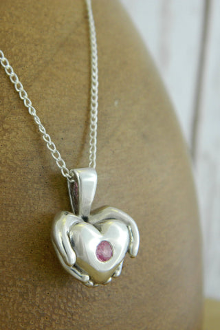 Medium Modern Heart Charm Necklace with Pink Gemstone