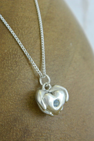 Small Modern Heart Charm Necklace with Blue Gemstone