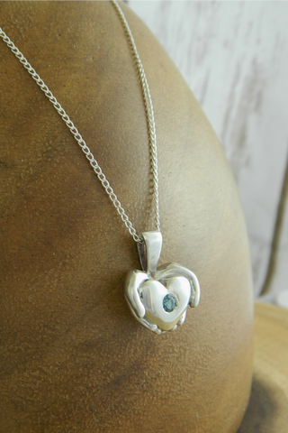 Medium Modern Heart Charm Necklace with Blue Gemstone