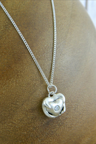 Small Traditional Heart Charm Necklace with Crystal Gemstone