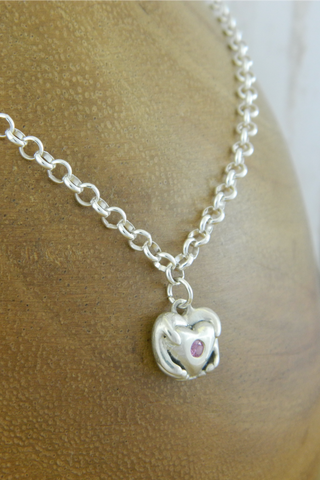 Small Traditional Heart Charm Bracelet with Pink Gemstone