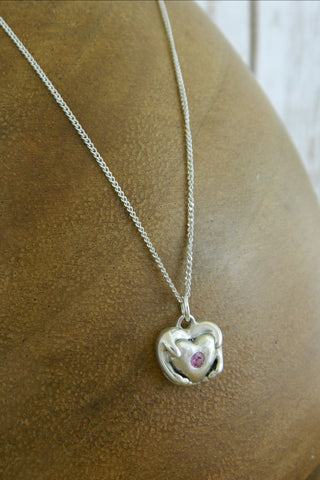 Small Traditional Heart Charm Necklace with Pink Gemstone