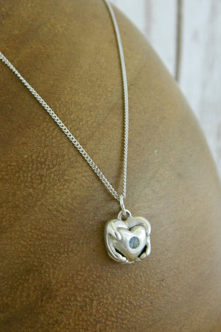 Small Traditional Heart Charm Necklace with Blue Gemstone