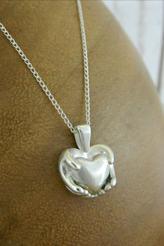 Medium Traditional Heart Charm Necklace