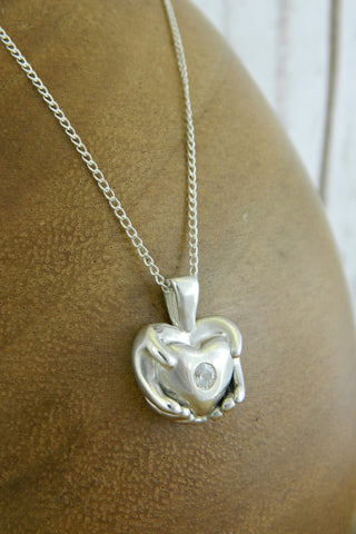 Medium Traditional Heart Charm Necklace with Crystal Gemstone