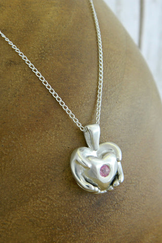 Medium Traditional Heart Charm Necklace with Pink Gemstone