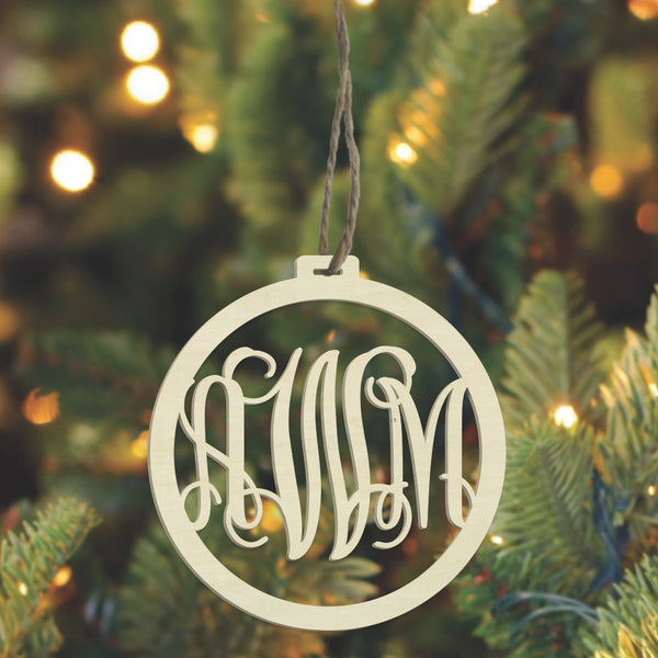 Laser Ornament - 3 Letter Monogram