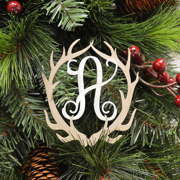 Laser Cut Antler Vine Monogram Ornaments