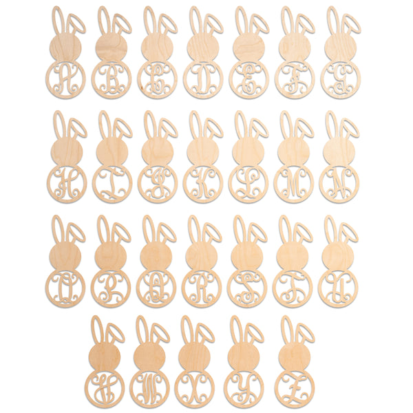 Bent Ear Bunny Vine Monogram