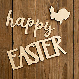 "Laser Cut ""Happy Easter"" with Bunny"