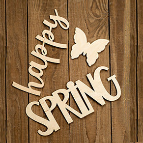 "Laser Cut ""Happy Spring"" with Butterfly"