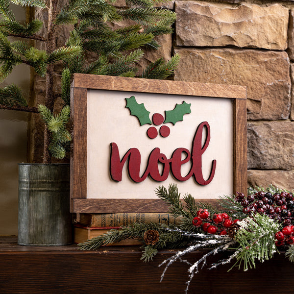 "Laser Cut ""Noel"" With Holly"