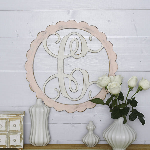Scalloped Frame Vine Monogram - 2 Sizes