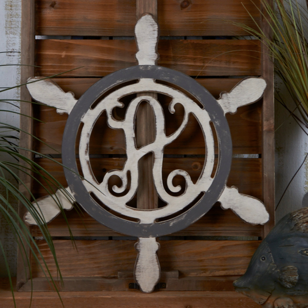 Ship Wheel Vine Monogram