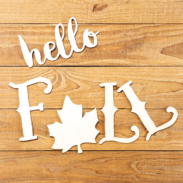 "Laser Cut ""Hello Fall"" Word Pack"