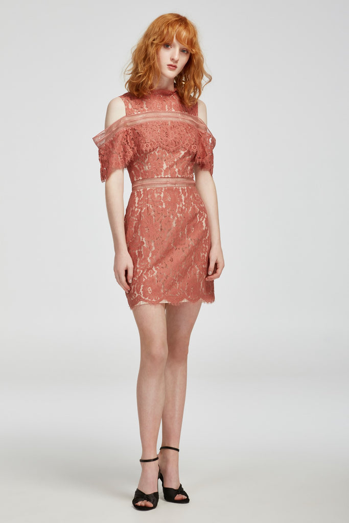 OBLIVION LACE MINI DRESS / SPICE (1 Left )