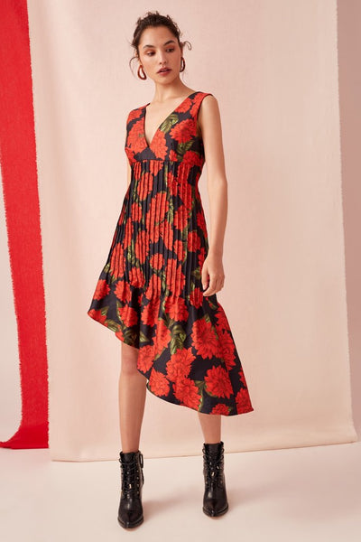 STEP ASIDE MIDI DRESS black dahlia (1 Left )