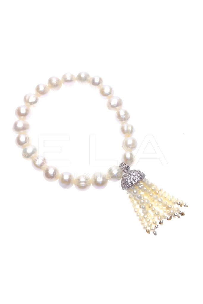 Sterling Silver Candy Stretch Tassel Bracelet with Pearl