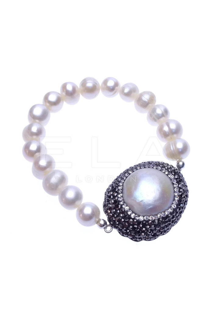 Sterling Silver Stretch Bracelet with Pearl and Swarovski Crystals