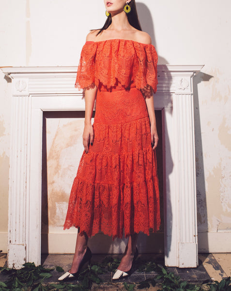 THE GYPSY CORDED COTTON - BLEND OFF SHOULDER LACE DRESS | NEW ARRIVALS