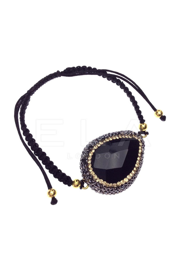 Black Onyx Macrame String Bracelet with Swarovski Crystals