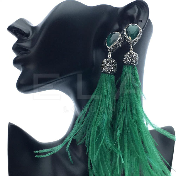 GREEN FEATHER EARRINGS | NEW IN