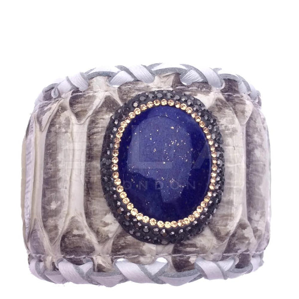 Handmade Python Leather Cuff Bracelet with Lapis Lazuli