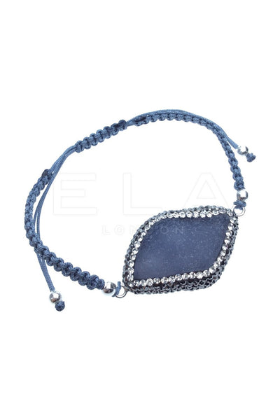 Natural Gemstone Macrame String Bracelet in Blue