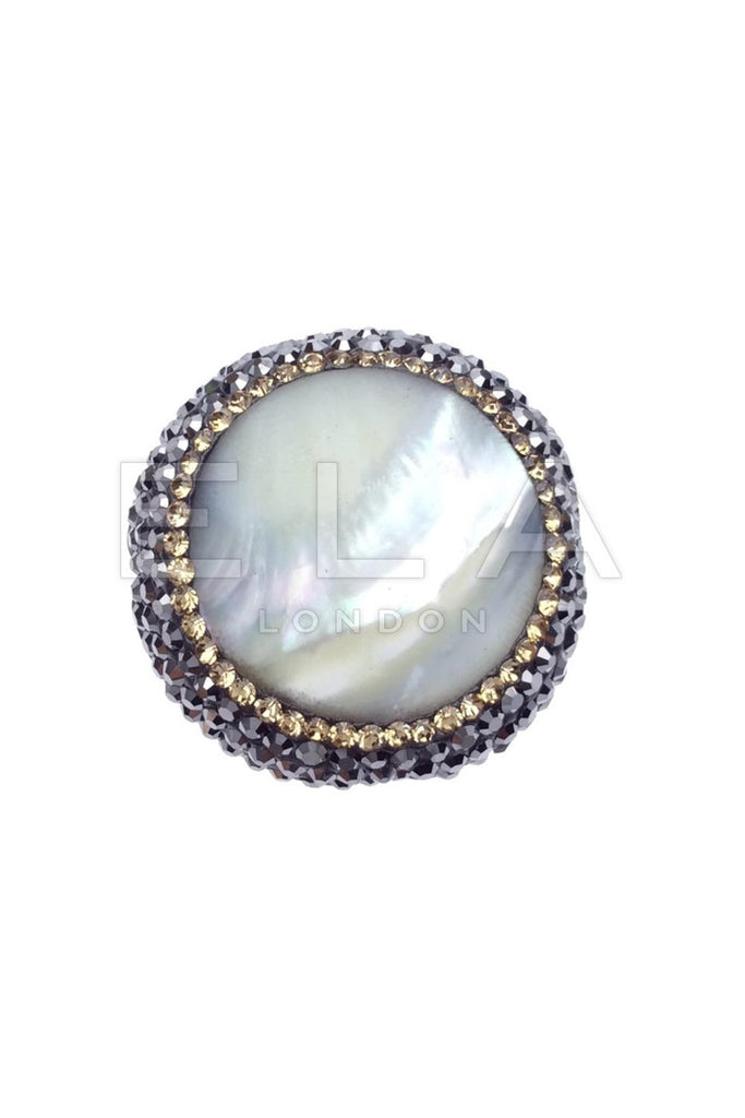 Sterling Silver Gemstone Ring with Swarovski Crystals - Mother of Pearl
