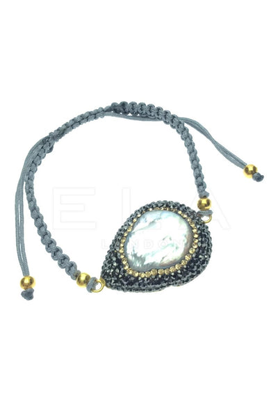 Natural Gemstone Macrame String Bracelet with Pearl