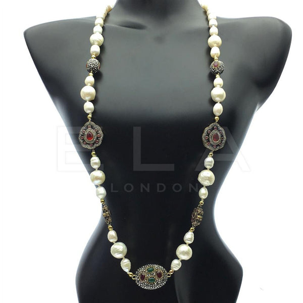 Pearl and Multi Colour Gemstone Necklace
