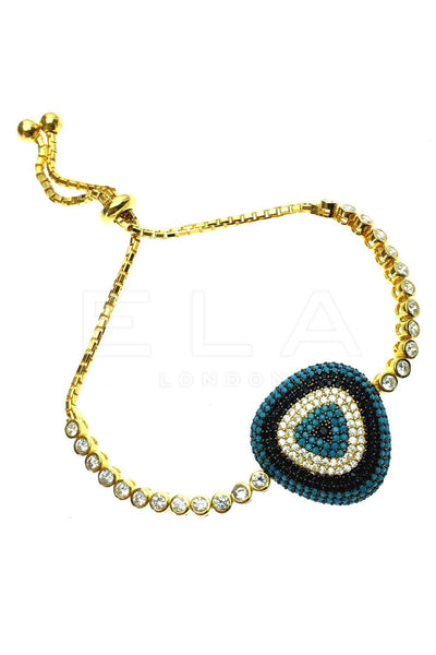 Gold Evil Eye Bracelet with Blue Gems