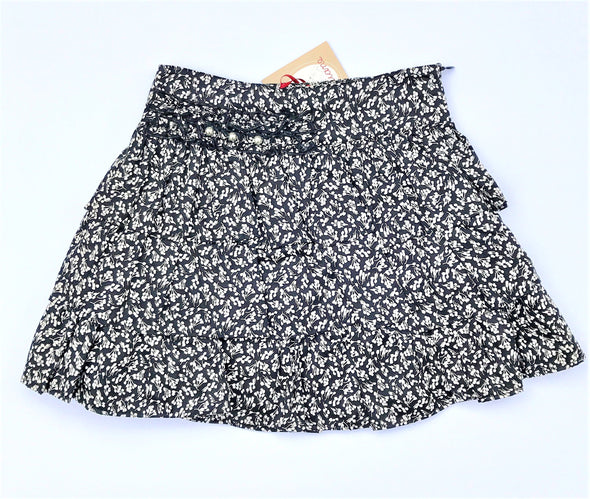 Floriane of France Black/White Tiered Soft Cotton Mini Floral Print With Attached Perls Skirt