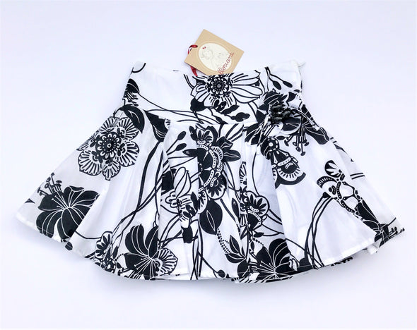 Floriane of France Black/White Tiered Soft Cotton Floral Print Full Skirt