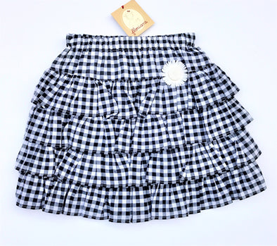 Floriane of France Black/White Tiered Soft Cotton Gingham Print Skirt