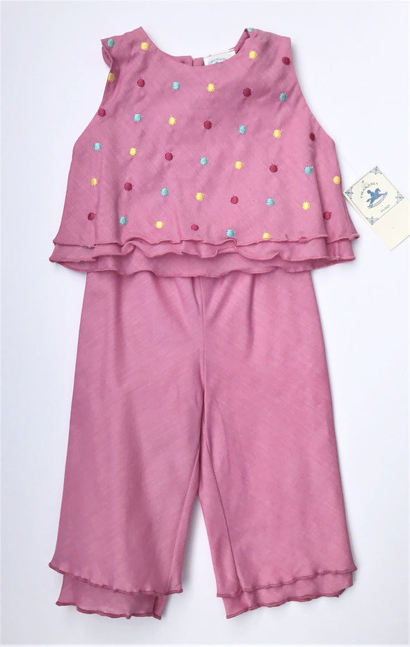 CHARABIA Of FRANCE 2Pc Tiered Sleeveless Rose Pant Set