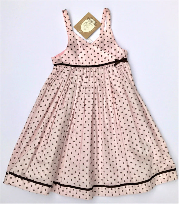 Floriane of France Girls Sundress Pale Pink Polka-dot Print
