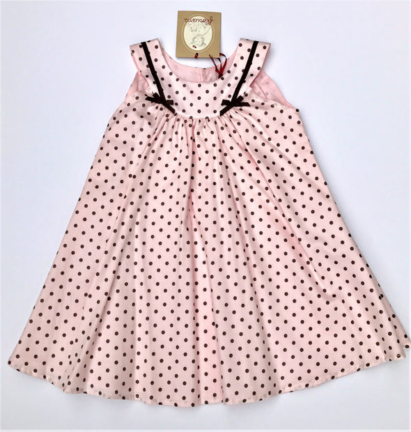 Floriane of France Girls Sleeveless Pale Pink Polka-dot Dress