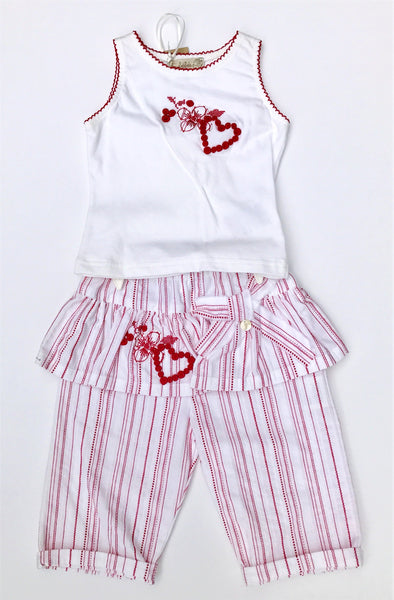 Floriane of France Girls Sleeveless 2pc Skirted Pant Set