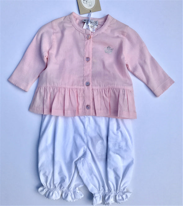 Floriane of France Infant Girls 2Pc Set Long Sleeve Pink Top With White Bloomer