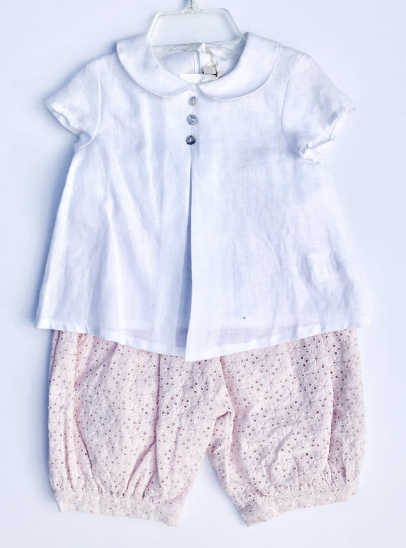 Floriane of France Infant Girls Dressy 2Pc Set Swing Linen Top and Eyelet Pant