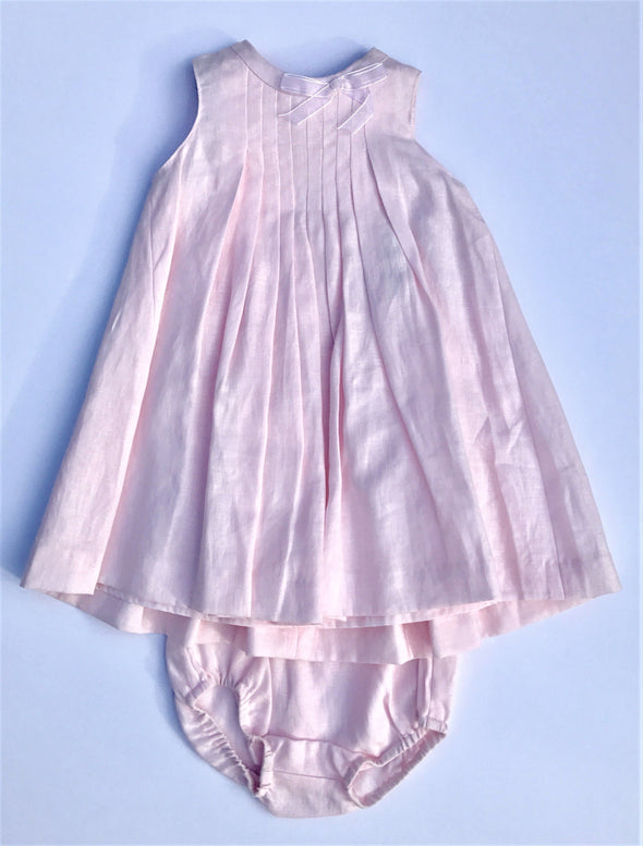 Floriane of France Girls Sleeveless Pale Pink Dressy Linen Dress With Dipper Cover