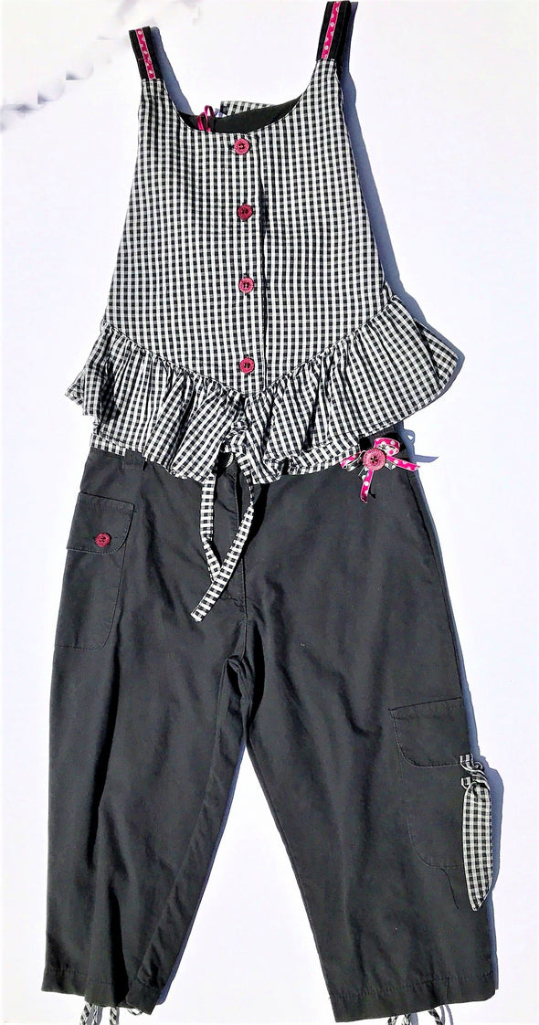 Pomme Framboise of France Girls 2Pc Black/White  Pant Set