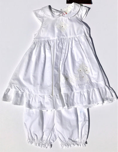 Catimini Of France 2Pc Infant Girls White Cap Sleeve Cotton Dress With Bloomer