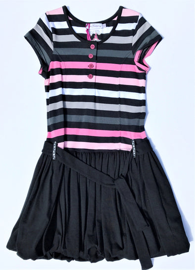 Pomme Framboise of France Girls Black With Stripes  Bubble Dress