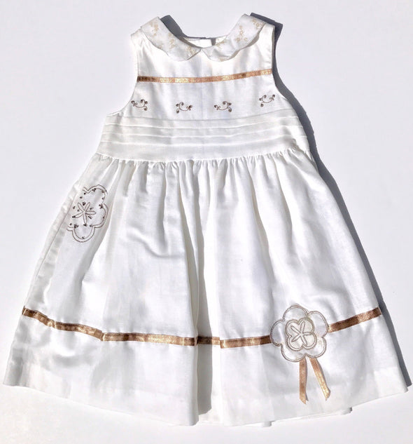 Pomme Framboise of France Girls Dressy White With Gold Trim Applique Dress