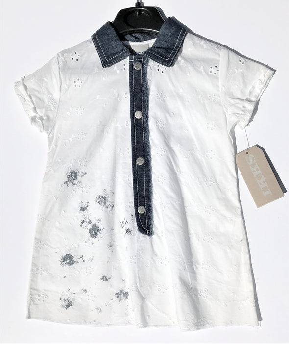 IKKS Of France Infant Girls Eyelet/Denim Cotton Dress