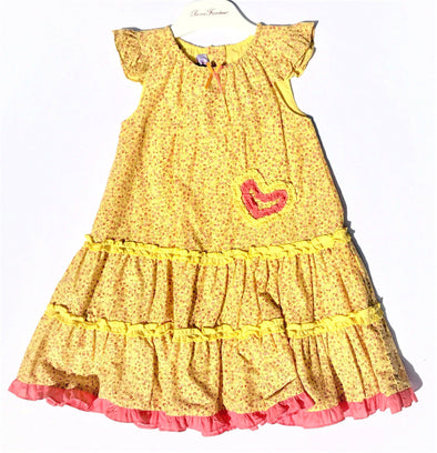 Pomme Framboise of France Girls FloralTiered Dress