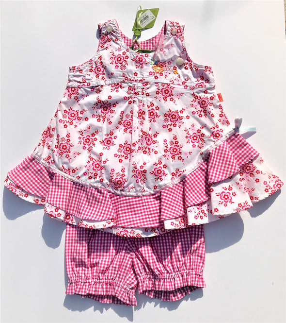 Oilily  2Pc Gingham and Floral tiered Dress With Matching Bloomer